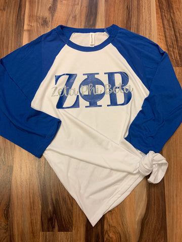 Blue and White Sorority Baseball Tee