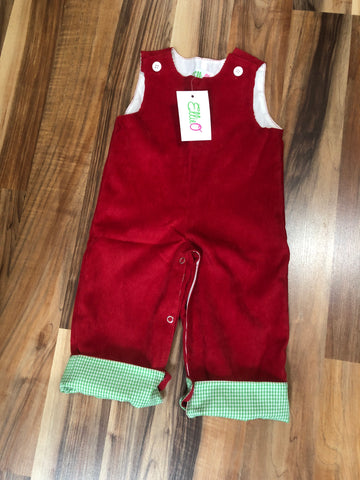 Boys Red Corduroy Coveralls with Green Gingham Accents