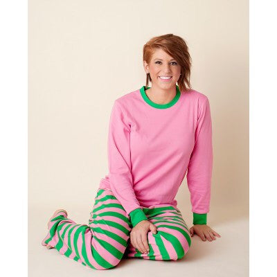 Sorority Pajamas - Pink and Green/ Preorder- Processing will BEGIN after MARCH31 ST, 2021.  Orders will be completed and shipped in the order they are received.