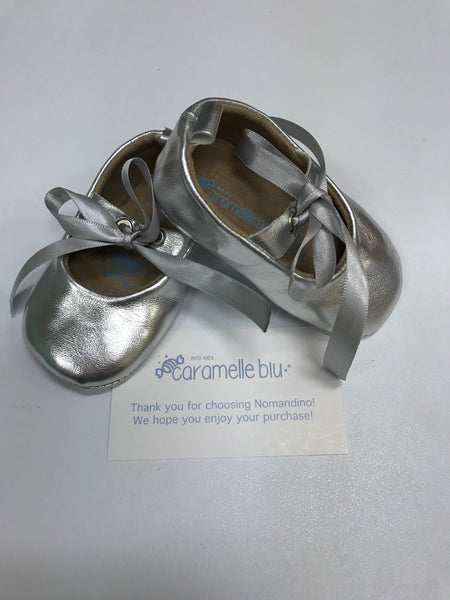 Silver Infant Crib Shoes by Caramelle Blu