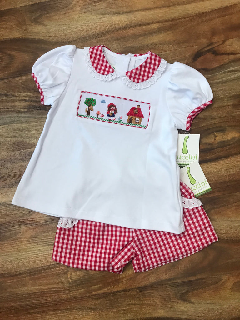 Little Red Riding Hood 2pc Smocked Short Set
