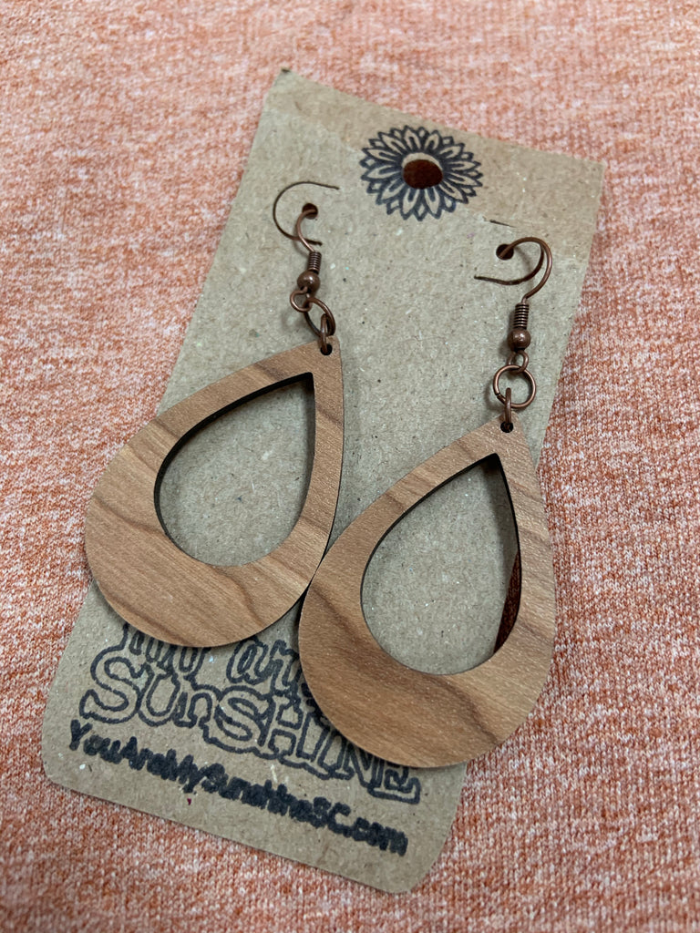 Teardrop Wooden Earrings