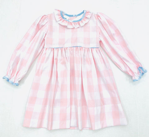 Rose Long Sleeve Pink Buff Check Dress