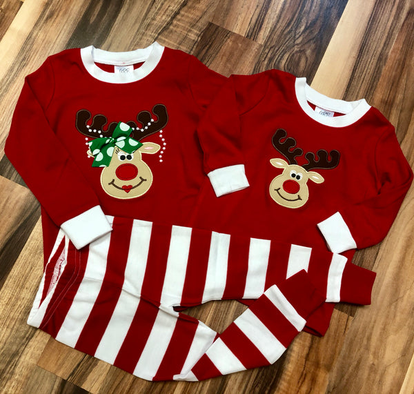 Girly Reindeer Appliqued Christmas Pajamas for all ages!