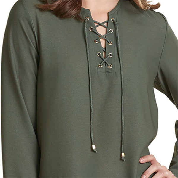 MUDPIE ROSALIE LACE-UP TUNIC IN MOSS GREEN close up