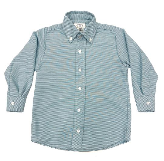 Green Stripe Long Sleeve Button Down Shirt