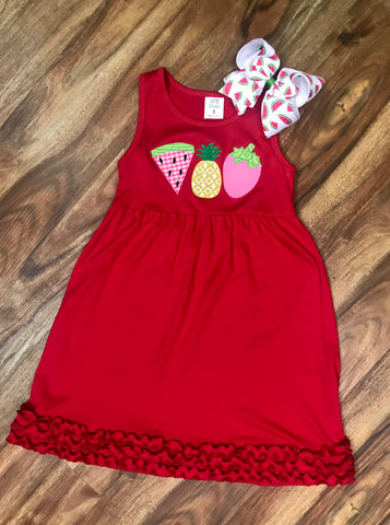 Fruits Red Ruffle Dress