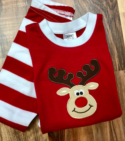Boy Reindeer Appliqued Christmas Pajamas for all ages!