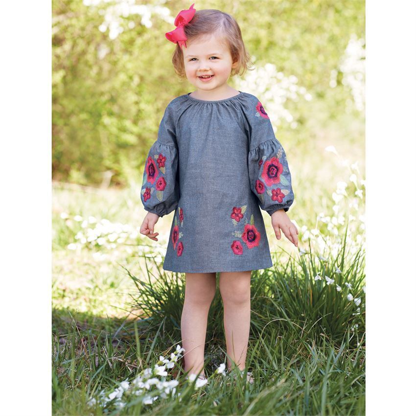 floral chambray dress on toddler