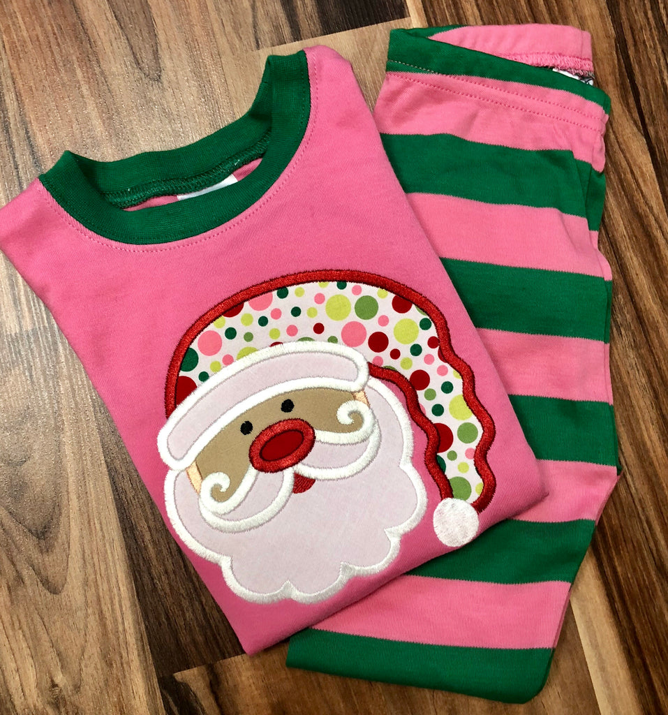 Girly Santa Appliqued Chirstmas Pajamas for all ages!