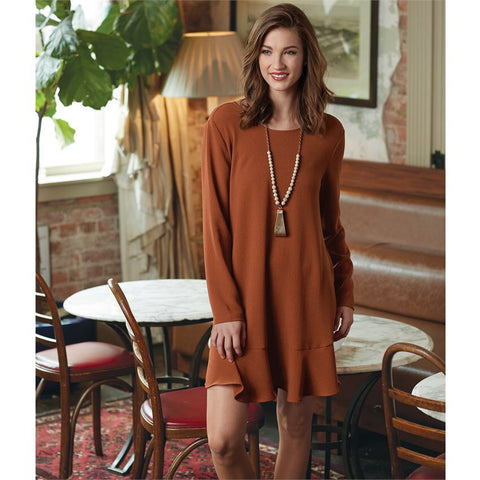 MUDPIE JESSE FLOUNCE DRESS IN RUST