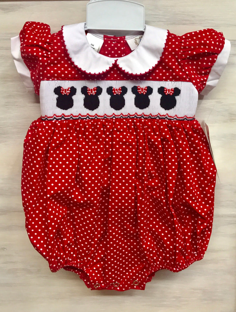Minnie Mouse Smocked Infant Bubble
