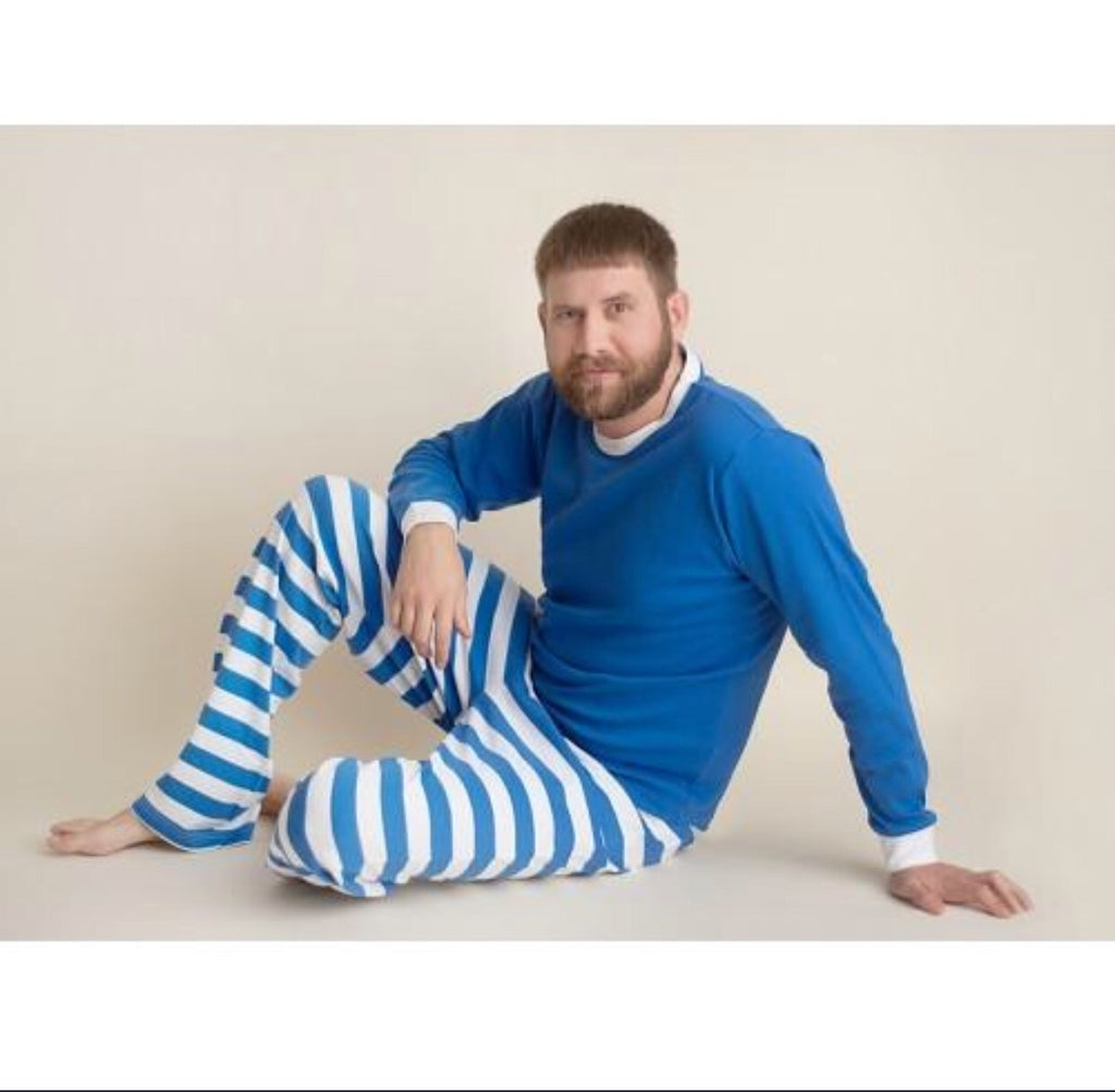 Adult Blue and White Striped Hanukkah pajamas