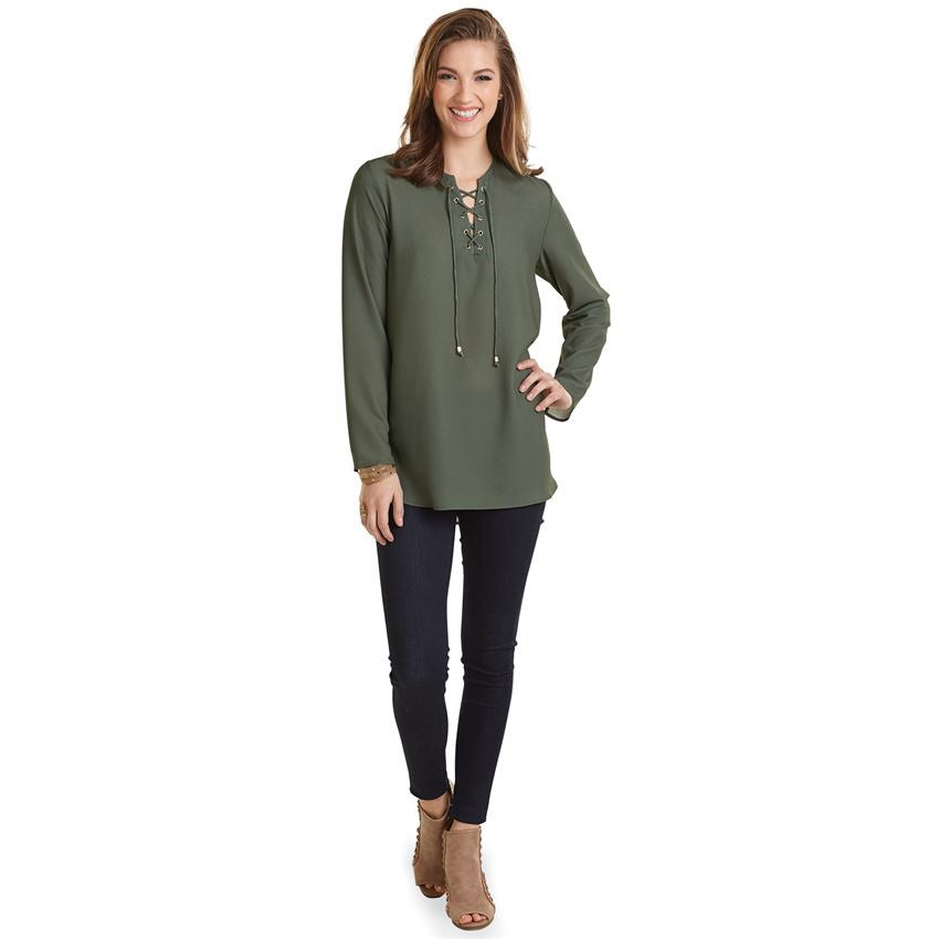 MUDPIE ROSALIE LACE-UP TUNIC IN MOSS GREEN