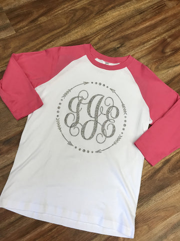 Pink and White Arrow Monogram Shirt