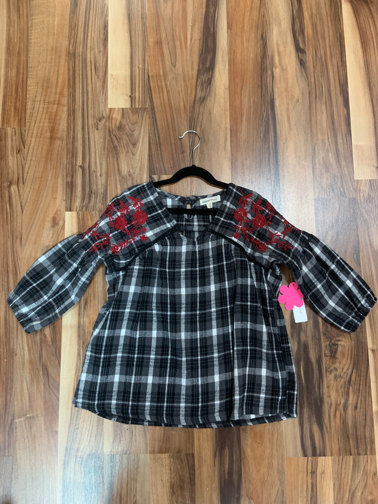 Embroidered Plaid Top