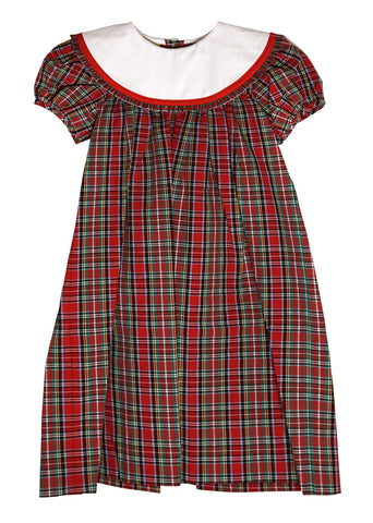 Chirstmas Plaid Loula Dress with Round White Colar