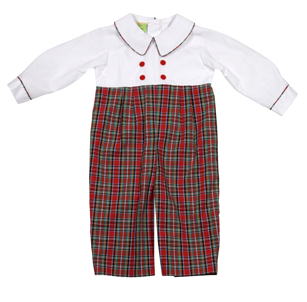 Christmas Plaid Infant Boys Double Breasted Romper by LeZaMe