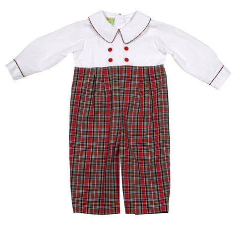 5de2769f2 Christmas Plaid Infant Boys Double Breasted Romper by LeZaMe