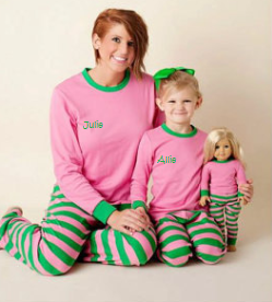 Youth Pink and Green Monogrammed Pajamas