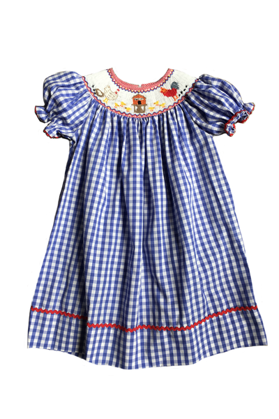 Blue Gingham rooster dress
