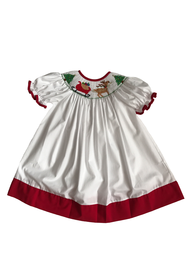 Santa Sleigh Smocked Bishop Dress