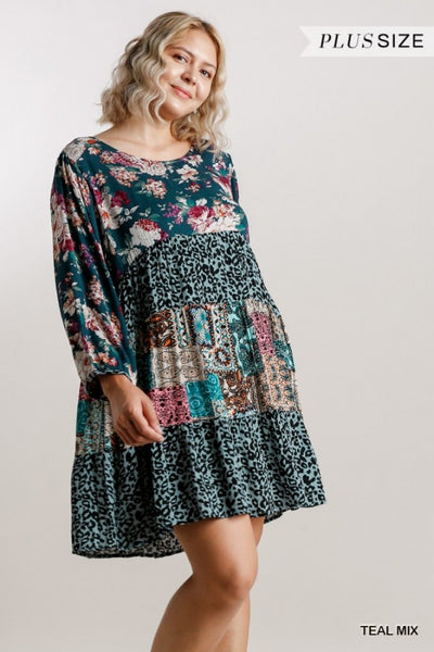 Umgee Mixed Printed Round Neck Tiered Dress with Long Puff Sleeves