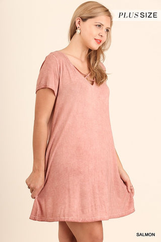 Crossed V-Neck Pocket Dress- PLUS SIZE