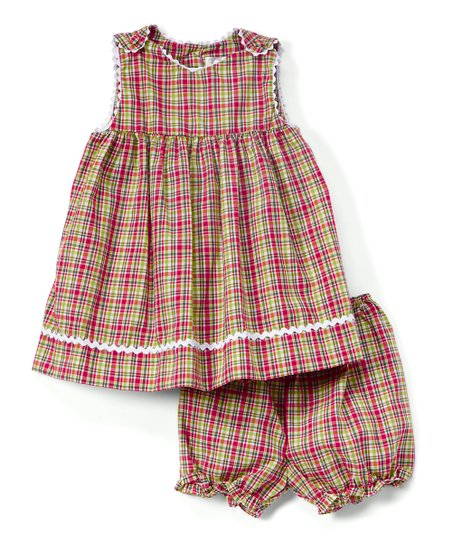 Red & Green Plaid Ric-Rac Monogram Jumper & Bloomers - Infant