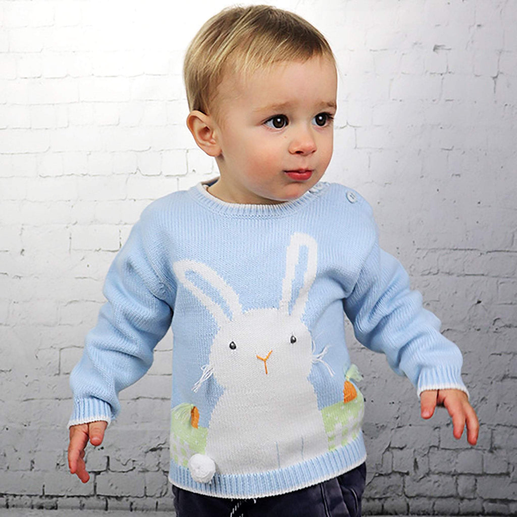 Bunny Cotton Knit Sweater in Blue
