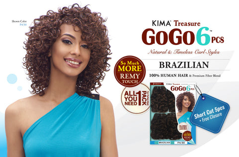 Curly Blend Weave HARLEM125 GOGO 6PCS Brazilian