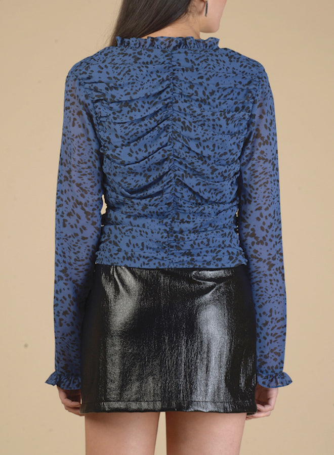 100106 Midnight Blue Leopard Print Ruched Top