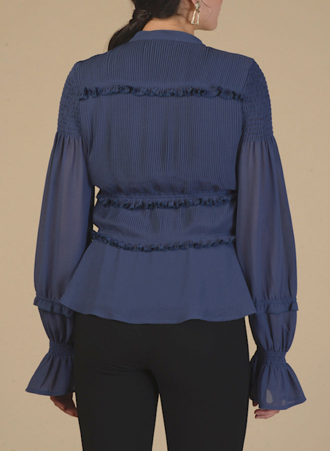 100201 Sea Blue Pleated Blouse