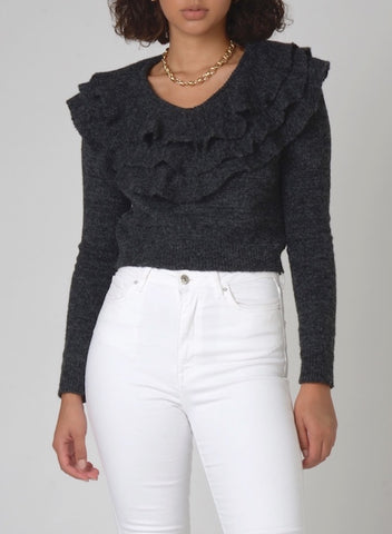 100801 Drea Cutout Shoulder Flare Sweater