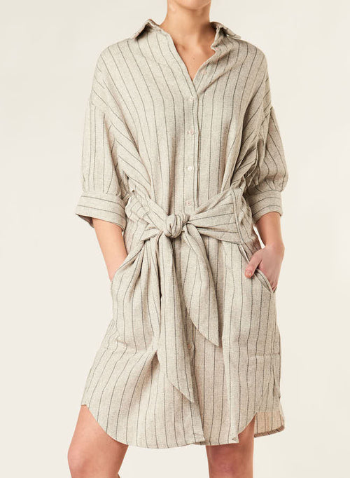 84001 BOYFRIEND STRIPED WRAP SHIRT DRESS