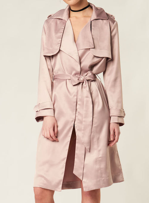 84201 ROSIE BLUSH SILKY SATIN TRENCH COAT