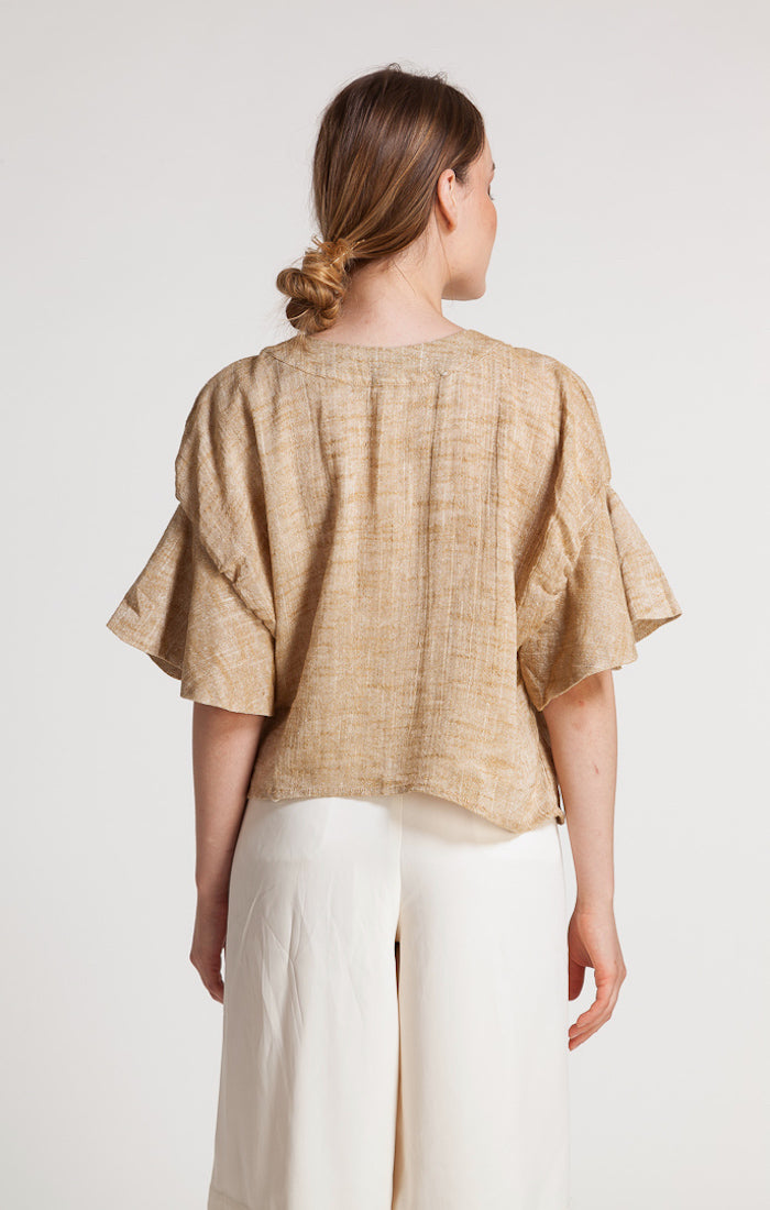 85501 CECILE RUFFLE SLEEVE LINEN TOP