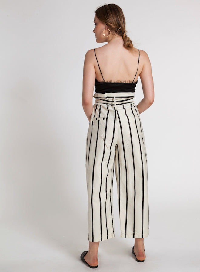 85801 LARA PAPERBAG HIGH WAIST STRIPED WIDE LEG PANTS