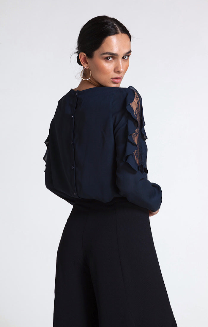 86101 Miller Ruffle Lace Sleeve Navy Blouse