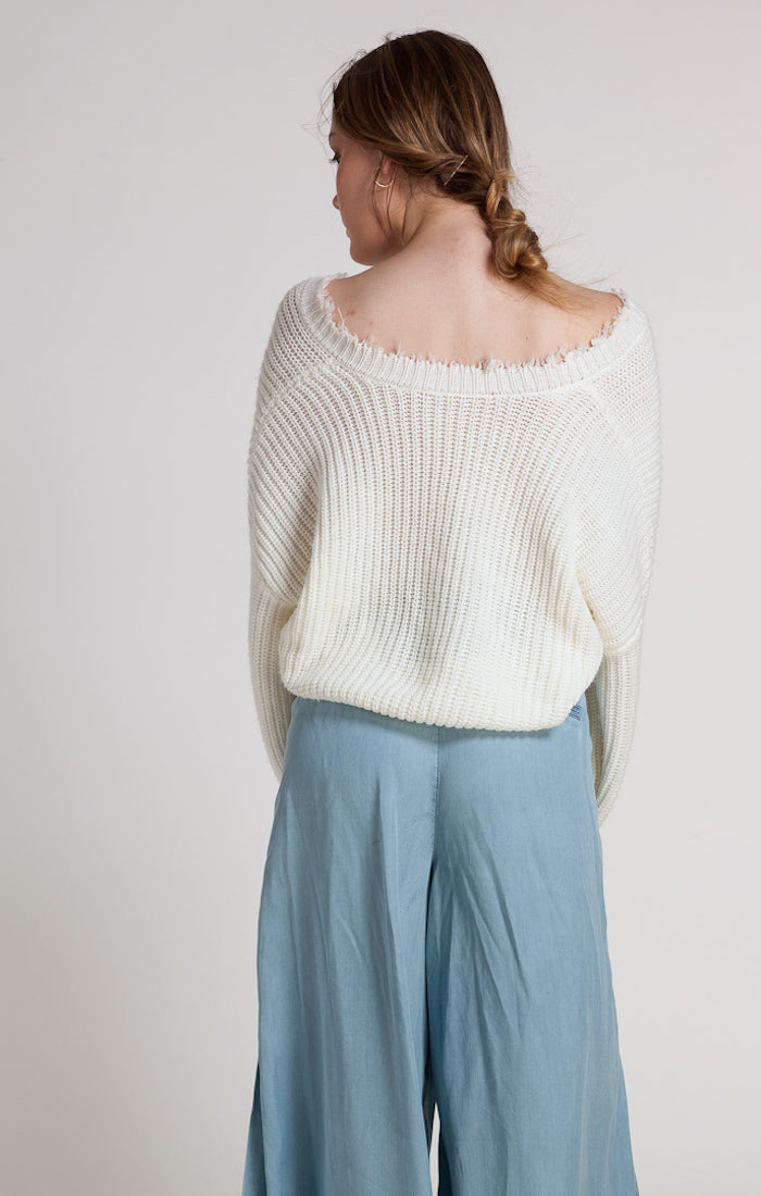 86201 JOIE FRAYED HEM FRINGE KNIT SWEATER