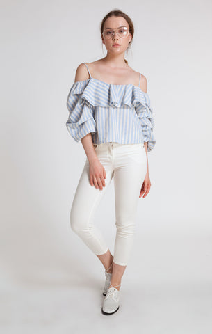 86104 LAGUNA BLUE OFF-THE-SHOULDER PUFFY SLEEVE TOP