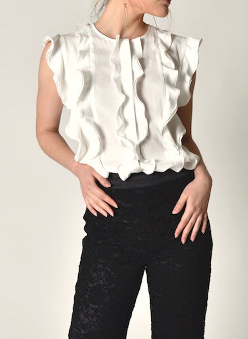86605 Arden Ruffle Sleeveless Shirt