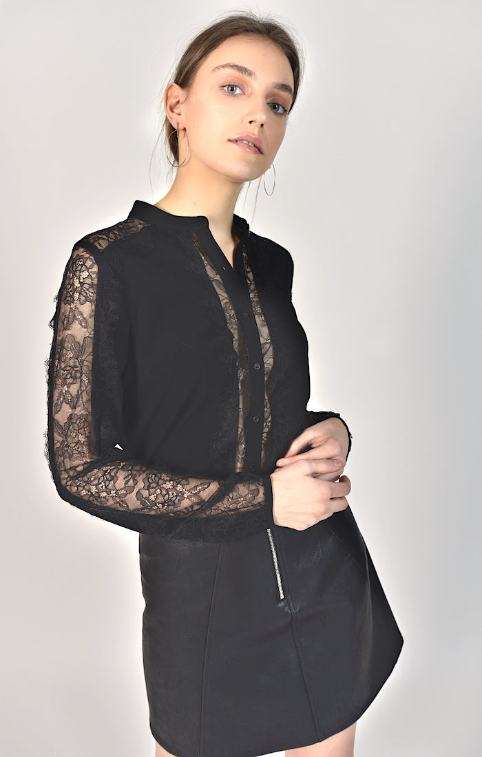 87122 Lacey Mesh Sleeve Black Blouse