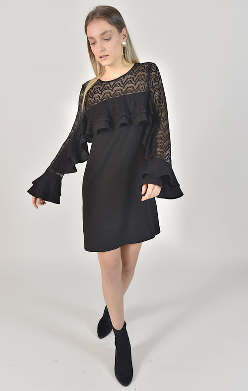 87501 Keira Lace Shoulder Ruffle Sleeve Dress (PRE-ORDER)