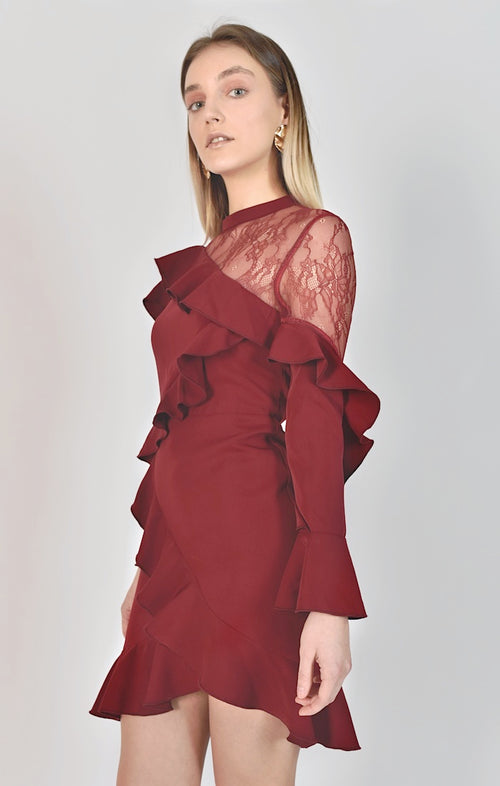 87509 Anastasia Asymmetrical Layered Ruffle Dress (Pre-Order)