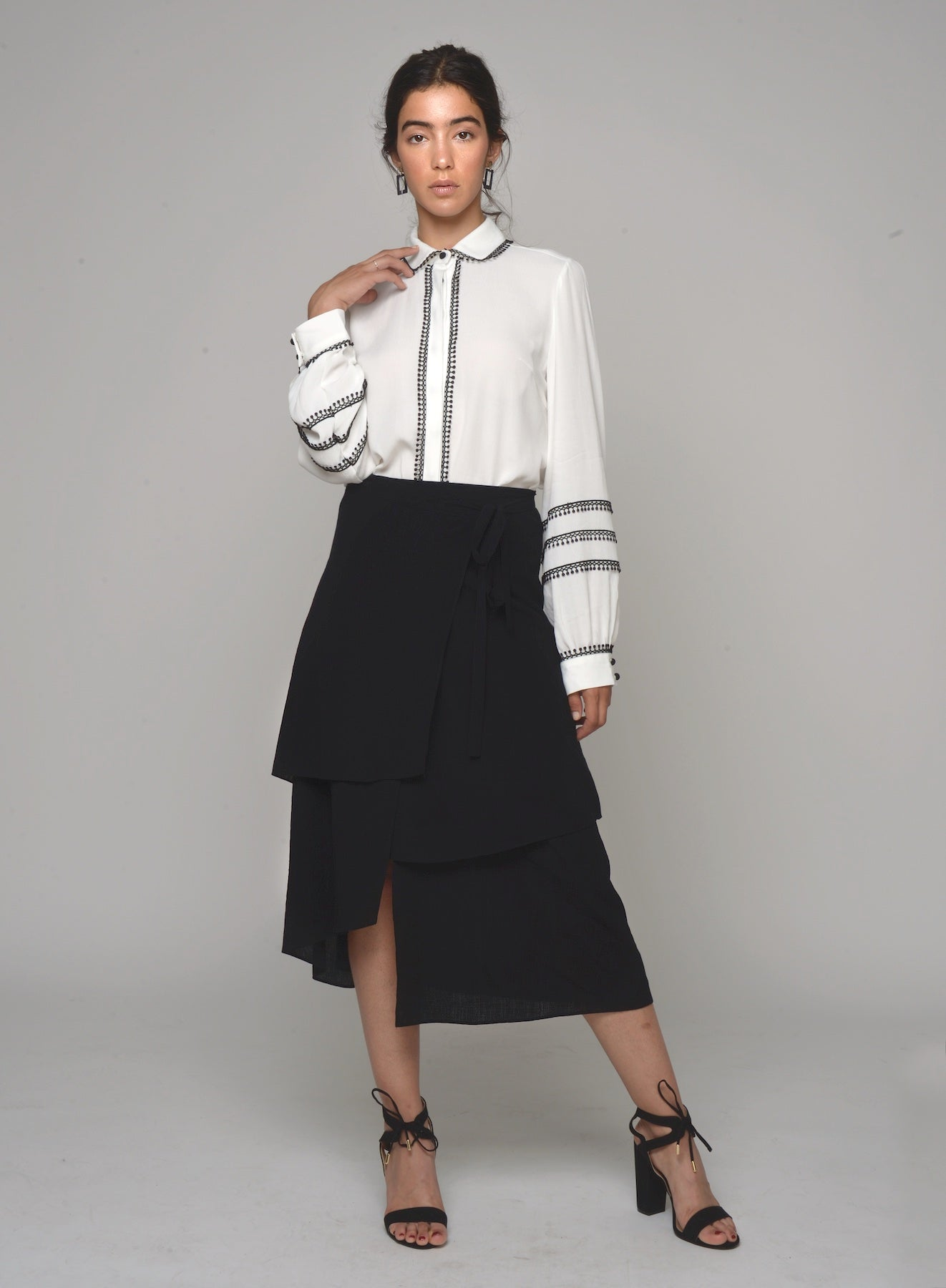 88801 Meghan Asymmetrical Layered Skirt