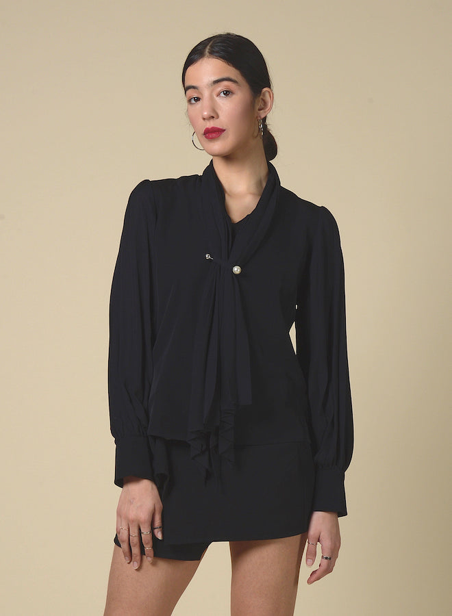 89105 Plunging Scarf Pearl Shirt