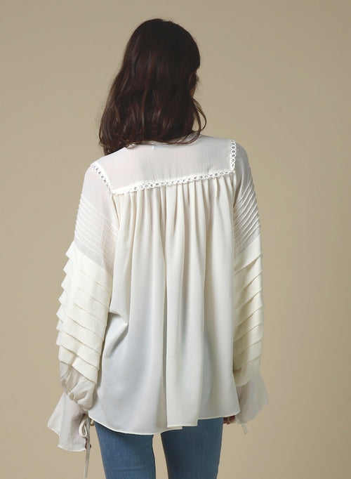 89108 Ruffle Front Puffy Sleeve Shirt