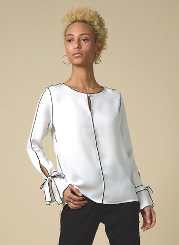 CISTAR Cream Pearl Satin Blouse