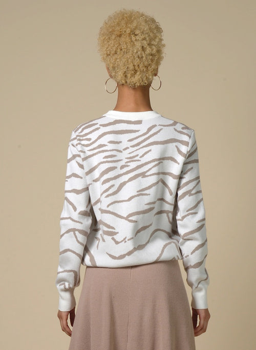 89309 White Animal Print Sweater
